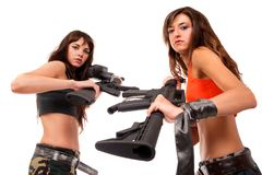 Image of a two armed girls Royalty Free Stock Photo