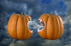 Image of two bared pumpkins on sky background Royalty Free Stock Photos