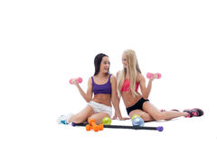 Image of two beautiful smiling female athletes Royalty Free Stock Images