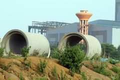 Two Big Pipes. Image of Two Big Pipes in Steel Plant Area royalty free stock image