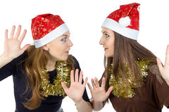 Image of two eavesdropper young women Royalty Free Stock Photo