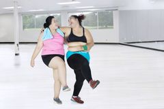 Fat women exercising together Stock Photo