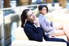 Image of two friendly businesswomen Royalty Free Stock Photos