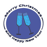 An image of two glasses of champagne on Christmas and New Year. On a white background Royalty Free Stock Photography