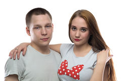 Image of two hugging teenagers. On white background Royalty Free Stock Image