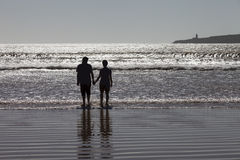The image of two people in love at sunset. In Essaouira, Morocco royalty free stock images