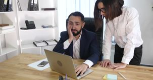 Image of two successful business partners working at meeting in office stock footage