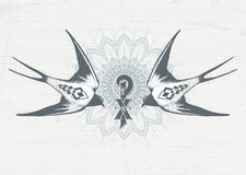 Image of two swallows on a background of a wreath of Jesus Christ in tattoo style. Sketch, handmade. Stock Photo