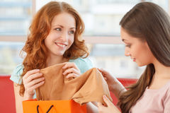 Image of two teenage girls looking at clothes. Stock Photography