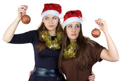 Image of two thinking young women Royalty Free Stock Photography