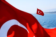 Image of two Turkish flags Royalty Free Stock Photography