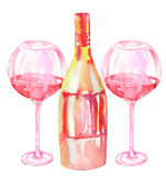 Image of the two watercolor glasses of red wine and wine (champagne) bottle. Image of the  watercolor glasses of red wine and wine (champagne) bottle. Painted Royalty Free Stock Photos