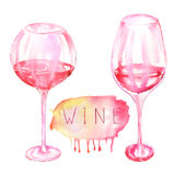 Image of the two watercolor glasses of red wine and wine (champagne) bottle. Image of the  watercolor glasses of red wine and wine (champagne) bottle. Painted Stock Image