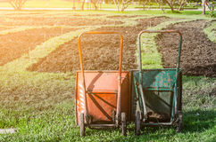 An image of two wheelbarrow on the grass Stock Image