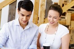 Image of two young business people Stock Photos