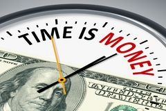 Clock with text time is money. An image of a typical clock with text time is money Royalty Free Stock Photos
