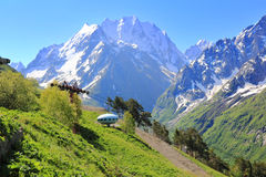 Image of UFO. Image of landscape with Caucasus mountains and UFO Royalty Free Stock Photo