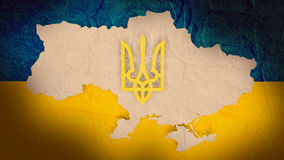 Image for ukraine politic situation. Ukraine national symbols flag and coat of arms Royalty Free Stock Photography