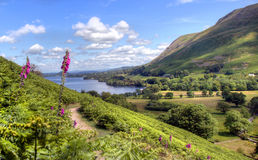 Image of Ullswater Lake from path on nearby hill Stock Photography
