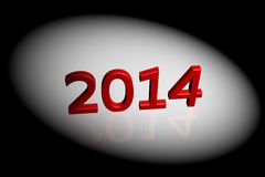 2014 year. 2014 image under projector lamp light, 3D rendered image Stock Photo