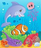 Image with undersea theme. Vector illustration Royalty Free Stock Photos