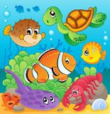 Image with undersea theme. Vector illustration Stock Photography