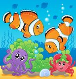 Image with undersea theme 4. Vector illustration Royalty Free Stock Photo