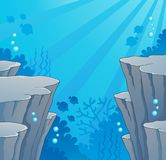Image with undersea topic 2. Vector illustration Stock Photos