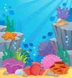Image with undersea topic 3. Vector illustration Stock Image