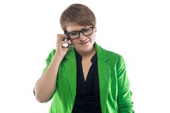 Image unhappy woman talking on the phone Royalty Free Stock Photography