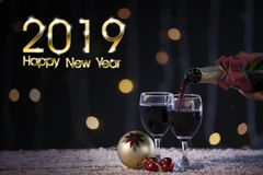 Champagne with a text of 2019 Happy New Year stock photo