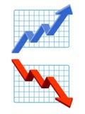 The image of an Upward graph, a Downward graph vector illustration