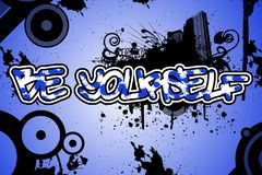 Image of an urban style graffiti on a blue background. vector illustration