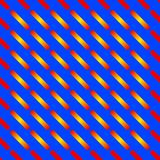 Abstract seamless colorful pattern of diagonal bars in gradient red, orange, and yellow colors on blue background. Vector illustra. The image is useful as Royalty Free Stock Photography