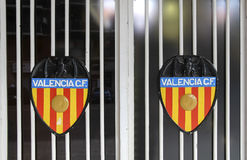 The image of the Valencia CF on gates of the Mestalla Stadium Royalty Free Stock Photo