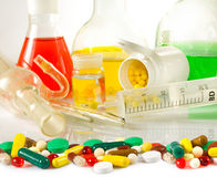 Image of varies glassware laboratory and pills closeup Stock Image