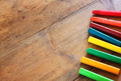 Image of various colorful crayons Royalty Free Stock Photo
