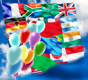 Image of various flags and balloons close-up Royalty Free Stock Photography