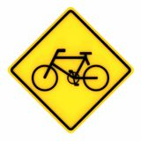 Image of various road Bicycle Traffic signs isolated on a white background. 3D rendering. Image of various Bicycle Traffic warning human road signs isolated on a Royalty Free Stock Image