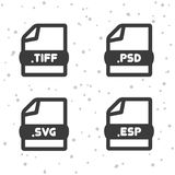 Image and Vector file icons. Download TIFF, PSD, SVG and ESP symbol sign. Web Buttons. Eps10 Vector set Stock Photo
