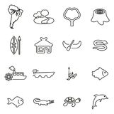 Amazon Rainforest & Wildlife Icons Thin Line Vector Illustration Set. This image is a vector illustration and can be scaled to any size without loss of Stock Image