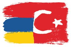 Armenia Flag & Turkey Flag Vector Hand Painted with Rounded Brush. This image is a vector illustration and can be scaled to any size without loss of resolution Stock Image