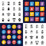 Avatar All in One Icons Black & White Color Flat Design Freehand Set 1. This image is a vector illustration and can be scaled to any size without loss of Stock Images
