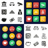 Bank All in One Icons Black & White Color Flat Design Freehand Set. This image is a vector illustration and can be scaled to any size without loss of Stock Photography
