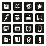 Book Publishing Icons White On Black vector illustration