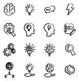 Brainstorming or Idea Icons Freehand. This image is a vector illustration and can be scaled to any size without loss of resolution Royalty Free Stock Photo