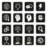 Brainstorming or Idea Icons White on Black. This image is a vector illustration and can be scaled to any size without loss of resolution Royalty Free Stock Image