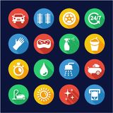 Car Wash Icons Flat Design Circle. This image is a vector illustration and can be scaled to any size without loss of resolution royalty free illustration