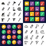 Carpenter All in One Icons Black & White Color Flat Design Freehand Set. This image is a vector illustration and can be scaled to any size without loss of Stock Images