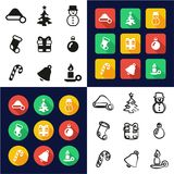 Christmas All in One Icons Black & White Color Flat Design Freehand Set. This image is a vector illustration and can be scaled to any size without loss of Royalty Free Stock Images